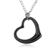 Ocelový náhrdelník, černá keramická kontura srdce, řetízek stříbrné barvy