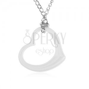 Ocelový náhrdelník stříbrné barvy, obrys bílého keramického srdce