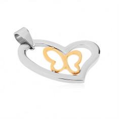 Přívěsek z chirurgické oceli, asymetrický obrys srdce, linie motýla ve zlaté barvě