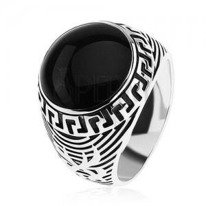 Prsten ze stříbra 925, černý glazovaný kruh, ornament řeckého klíče
