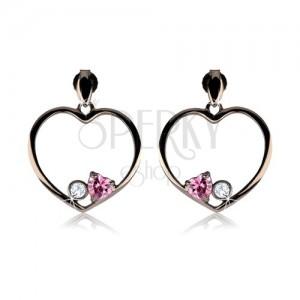 Náušnice ze stříbra 925, ocelově šedý obrys srdce, růžové srdce, čirý zirkon