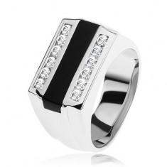 Prsten ze stříbra 925, černý glazovaný pásek, čiré zirkonové linie