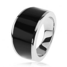 Stříbrný 925 prsten - černý glazovaný pás, lesklý a hladký povrch
