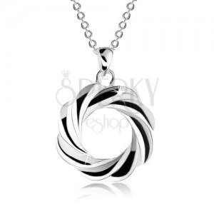 Stříbrný náhrdelník 925, obrys kruhu se zatočenými liniemi - věnec