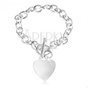 Stříbrný náramek 925, oválná očka řetízku, ploché a lesklé srdce