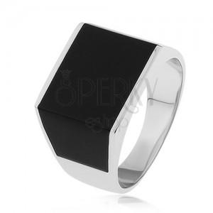 Lesklý prsten ze stříbra 925, obdélník a lichoběžníky s černou glazurou