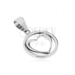 Lesklý přívěsek z chirurgické oceli - kroužek s konturou souměrného srdce