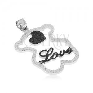 """Ocelový přívěsek - třpytivá silueta medvídka, černé srdíčko, nápis """"Love"""""""