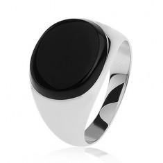 Prsten ze stříbra 925 - ovál z černé glazury, zrcadlový lesk