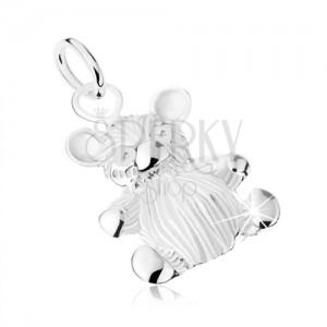Stříbrný přívěsek 925 - lesklý malý medvídek, gravírovaný povrch