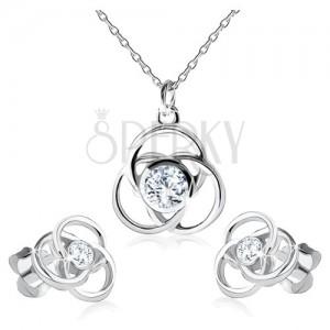 Náušnice a náhrdelník ze stříbra 925, obrys květu, kulaté okvětní lístky, zirkon
