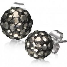 Ocelové náušnice Shamballa - černé kuličky, šedé broušené kamínky, 8 mm SP41.14