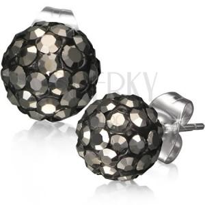 Ocelové náušnice Shamballa - černé kuličky, šedé broušené kamínky, 8 mm