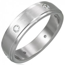 Ocelový prsten matný - 6 zirkonů po obvodu
