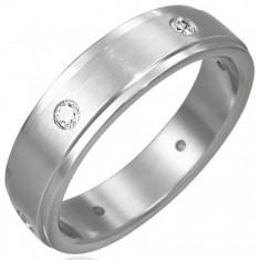 Ocelový prsten matný - 6 zirkonů po obvodu D10.11