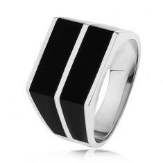 Stříbrný 925 prsten - dvě vodorovné linie černé barvy, hladký povrch