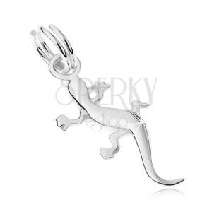 Přívěsek ze stříbra 925, lesklá ještěrka, detailně vyřezávané linie