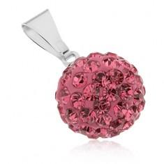 Ocelový přívěsek Shamballa, tmavě růžová kulička s kamínky, 12 mm