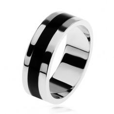 Lesklý stříbrný prsten 925, černý glazovaný pásek uprostřed