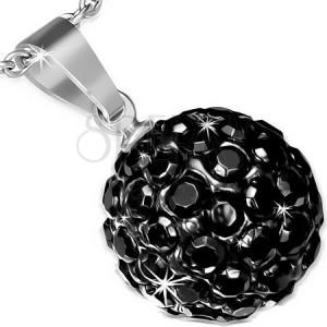 Ocelový přívěsek se Shamballa kuličkou, černé blyštivé zirkony, 12 mm