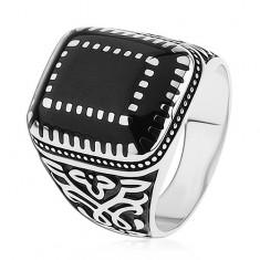 Stříbrný prsten 925, ornamenty na ramenech, obdélníky s černou glazurou S75.20