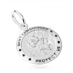 Stříbrný přívěsek 925, medailon se sv. Kryštofem, nápis, hvězdy
