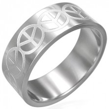 Prsten z chirurgické oceli - znak Peace