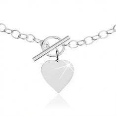 Náhrdelník ze stříbra 925, oválná očka řetízku, plochý přívěsek ve tvaru srdce SP37.04