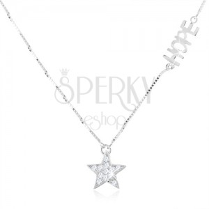 """Stříbrný náhrdelník 925 - jemný řetízek, čirá zirkonová hvězda, nápis """"HOPE"""""""
