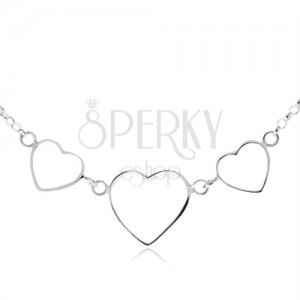 Stříbrný 925 náhrdelník - tři kontury symetrických srdcí, řetízek