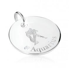 Stříbrný 925 přívěsek - znamení zvěrokruhu VODNÁŘ, čirý zirkon