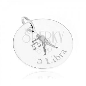 Kruhový a lesklý stříbrný přívěsek 925, znamení VÁHY, čirý zirkon