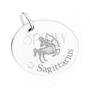Přívěsek - kruhová známka, znamení STŘELEC, čirý kamínek, stříbro 925