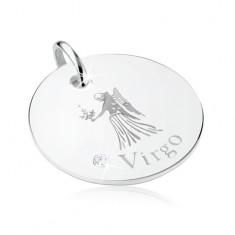 Plochý a kruhový přívěsek, stříbro 925, znamení PANNA, blyštivý zirkon
