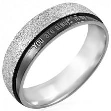 Ocelový prsten s nápisem - You are always in my heart