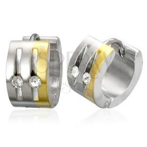 Ocelové náušnice stříbrné a zlaté barvy, čiré zirkony, svislé zářezy