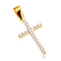 Zlatý přívěsek 375 - latinský křížek zdobený zirkony čiré barvy