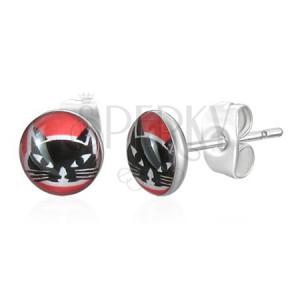 Kulaté ocelové náušnice - hlava černé kočky, červené pozadí