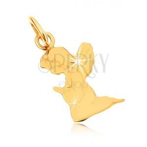 Přívěsek ve žlutém 9K zlatě - gravírovaný modlící se andílek, zrcadlový lesk
