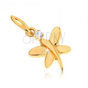 Zlatý přívěsek 375 - lesklý motýlek zdobený kulatým zirkonem v čiré barvě