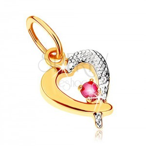 Dvoubarevný přívěsek v 9K zlatě - obrys srdce s tmavě růžovým rubínem, rhodiovaný
