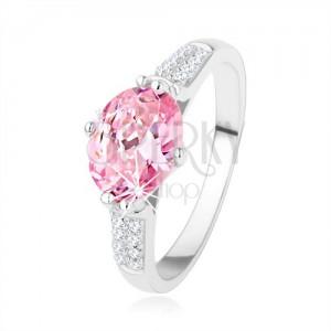 Zásnubní stříbrný prsten 925, oválný růžový zirkon, čiré drobné zirkonky