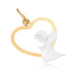 Zlatý dvoubarevný přívěsek 375 - klečící andílek ve spodní části obrysu srdce GG48.06