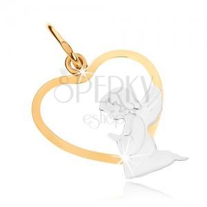 Zlatý dvoubarevný přívěsek 375 - klečící andílek ve spodní části obrysu srdce