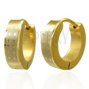 Lesklé kruhové ocelové náušnice - zlatý odstín, pás stříbrné barvy s hvězdami