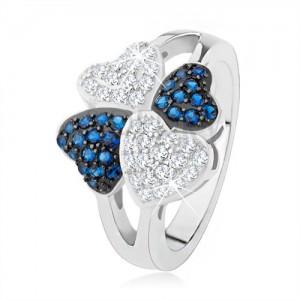 Prsten ze stříbra 925, čtyři srdíčka - drobné čiré a modré kamínky