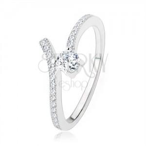 Stříbrný zásnubní prsten 925, rozdvojená ramena, čiré zirkony