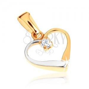 Zlatý dvoubarevný přívěsek 375 - kontura symetrického srdce, čirý zirkonek