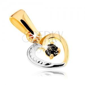 Dvoubarevný přívěsek z 9K zlata - linie pravidelného srdíčka, safír černé barvy