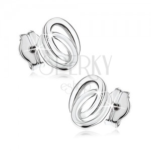 Puzetové náušnice v bílém 9K zlatě - dva propojené prstence